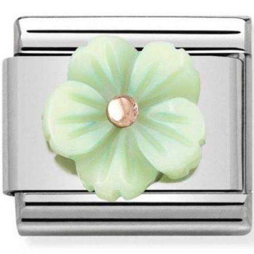 Maillon Nomination classic fleur en verte en Or rose