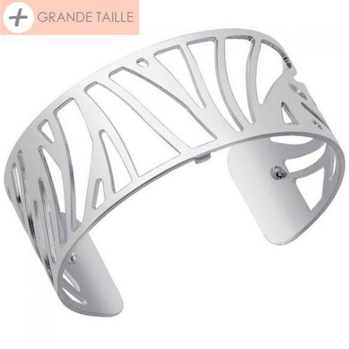 Bracelet manchette Les Georgettes essentielle + motif perroquet finition Argent medium