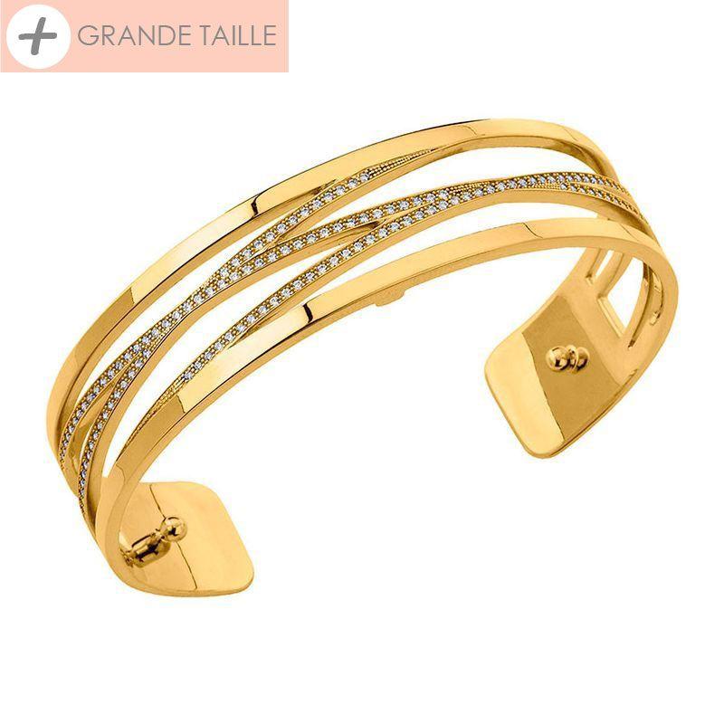 Bracelet manchette Les Georgettes précieuses + motif liens finition Or jaune small