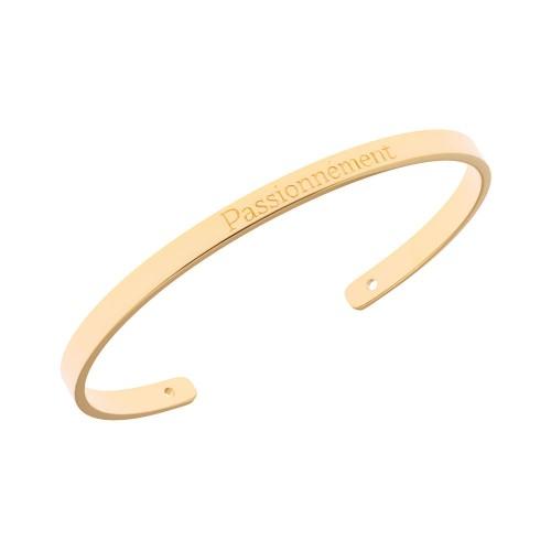 Bracelet Jonc Saunier personnalisé Passionnement Plaque Or