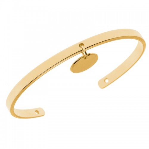 Bracelet Jonc Louise, Plaqué or, personnalisable