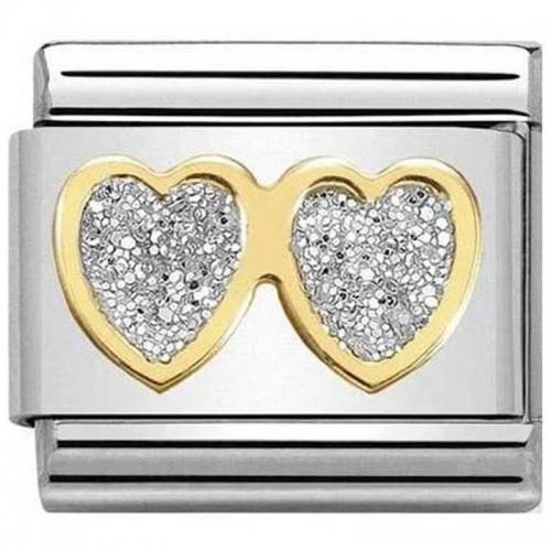 Maillon Nomination classic lunettes coeur glitter et Or