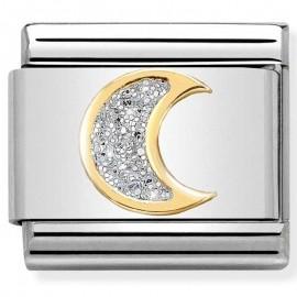 Maillon Nomination classic lune glitter et Or