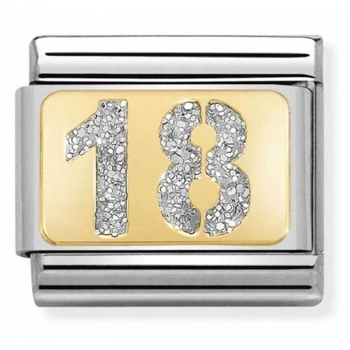 Maillon Nomination classic nombre dix-huit glitter et Or