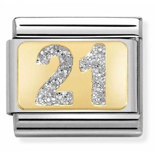 Maillon Nomination classic nombre vingt-et-un glitter et Or