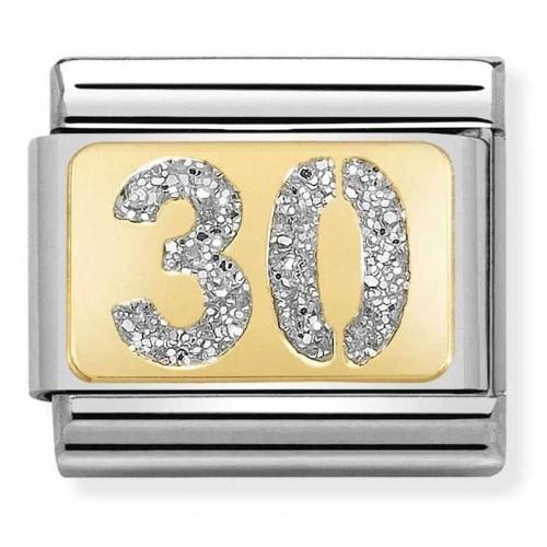 Maillon Nomination classic nombre trente glitter et Or jaune