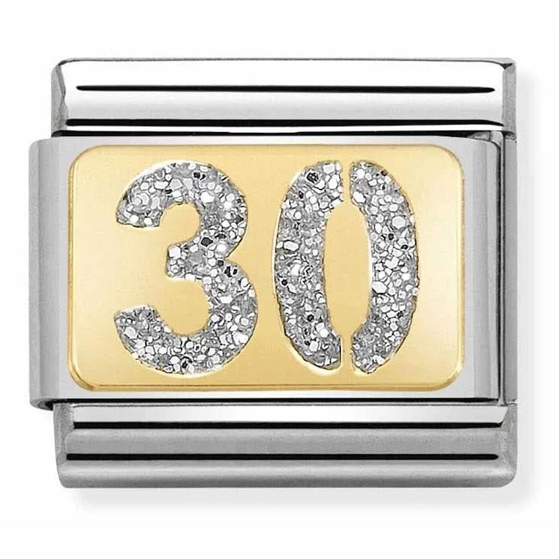 Maillon Nomination classic nombre trente glitter et Or