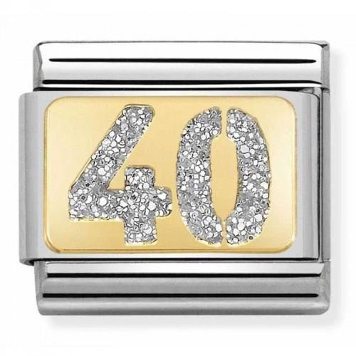 Maillon Nomination classic nombre quarante glitter et Or jaune