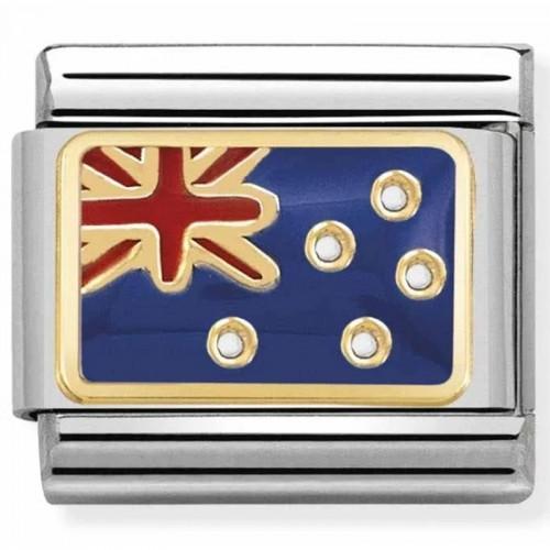 Maillon Nomination classic drapeau Australie en émail et Or jaune