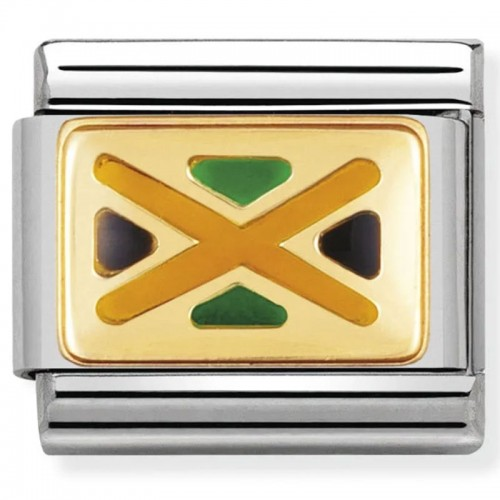 Maillon Nomination classic drapeau Jamaïque en émail et Or jaune