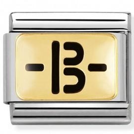 Maillon Nomination classic symbole groupe sanguin B en émail et Or