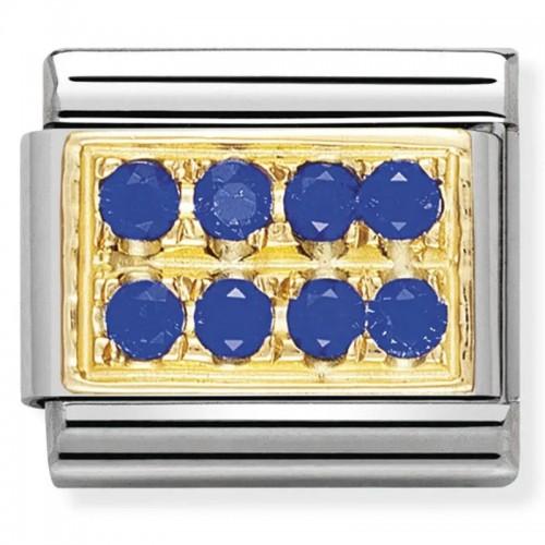 Maillon Nomination classic pavé de pierres bleues