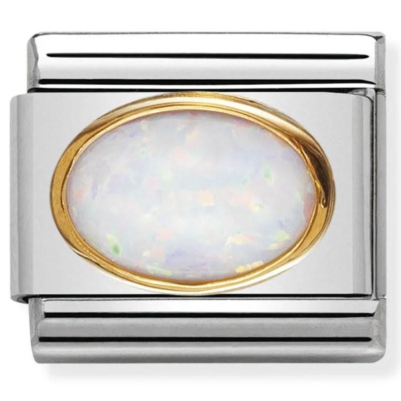 Maillon Nomination classic Birthstone Octobre pierre blanche ovale
