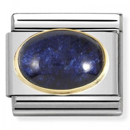 Maillon Nomination classic pierre précieuse ovale cristal bleu foncé