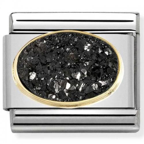 Maillon Nomination classic pierre agate ovale noir intense