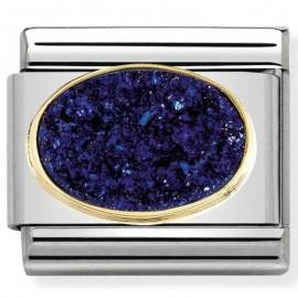 Maillon Nomination classic pierre agate ovale bleu nuit