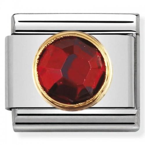 Maillon Nomination classic pierre rouge ronde sur fond en Or