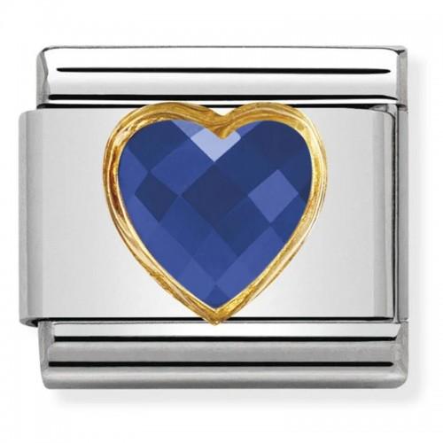 Maillon Nomination classic coeur bleu avec détails en Or 750