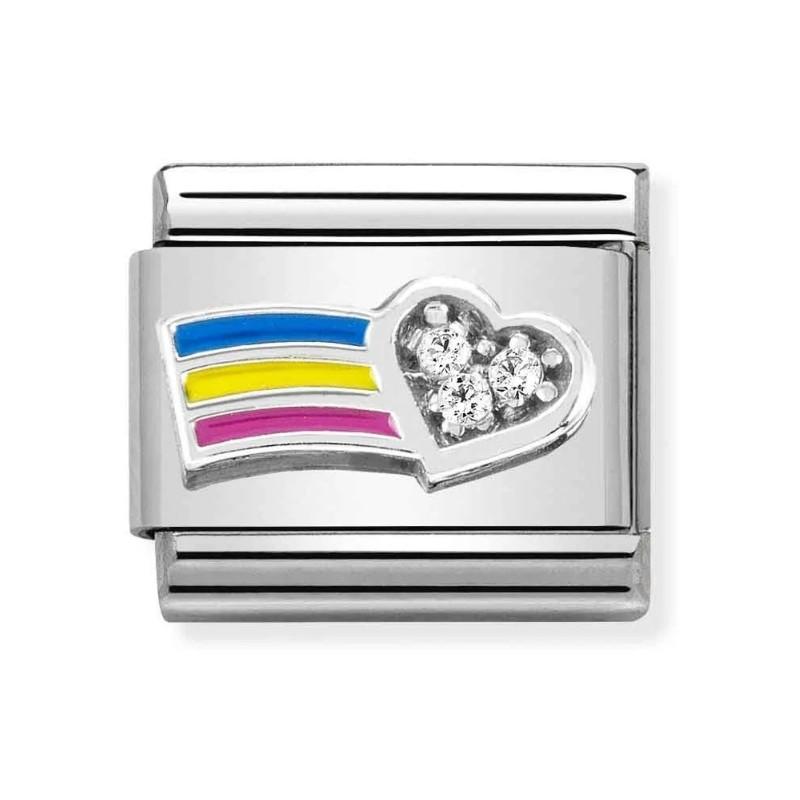Maillon Nomination classic Amour Coeur et Arc-en-Ciel multicolore avec Pierres en Argent