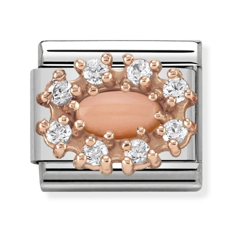 Maillon Nomination classic Charm Corail rose en Or rose
