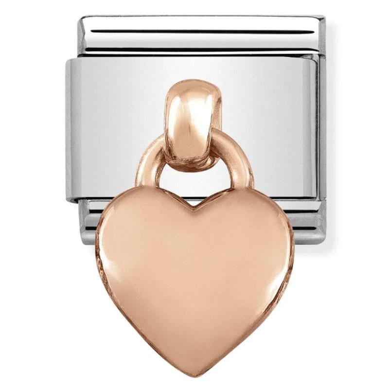 Maillon Nomination classic Pendentif Coeur en Or rose