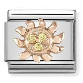 Maillon Nomination classic symbole du Soleil en Or rose et Pierres jaunes