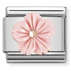 Maillon Nomination classic Fleur Pâte de Corail rose pastel