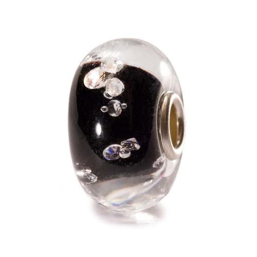 Perle en verre couleur Noir et Argent avec Treize Diamants Trollbeads
